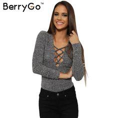 BerryGo Houtskool lace up Herfst warme gebreide tops Sexy v hals vrouwen trui pull femme Slanke lange mouw elastische vrouwelijke pullover