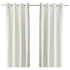 "MERETE Room darkening curtains, 1 pair, bleached white, 57x98"". Room darkening curtains prevent most light from entering and provide privacy both day and night by blocking the view into the room from outside."
