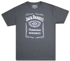 Traditional Jack Daniels label on charcoal cotton t-shirt. Licensed. #jackdaniels