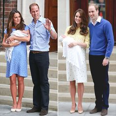 How the New Baby's Debut Compared to George's | KATE CHANGED HER LOOK | When introducing George to the world, Kate picked a blue, form-fitting Jenny Packham dress that (naturally) sold out instantly. This time around, she opted for Packham again, though went yellow (perhaps a nod to the fact that the couple opted to not find out the sex of their baby ahead of time?) in a shift silhouette.