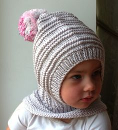 Light gray Merino Pixie Balaclava Baby / Toddler / Girl Hoodie hat with Pink melange Pom Pom. Waldorf inspired winter and snow hat. Hand knitted eleven / balaclava hat for baby, toddler, child. Baby Knitting Patterns, Hand Knitting, Crochet Patterns, Pixie, Pom Pom Baby, Pom Poms, Patterned Socks, Balaclava, Baby Hats