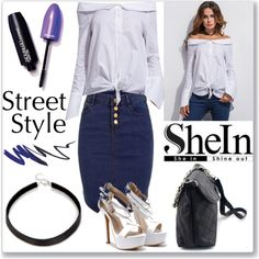 Shein Blouse by ludmyla-stoyan on Polyvore featuring blouse, shoulder and shein