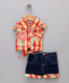 Take a look at this Young Hearts Orange Plaid Tank & Shorts - Girls on zulily today!