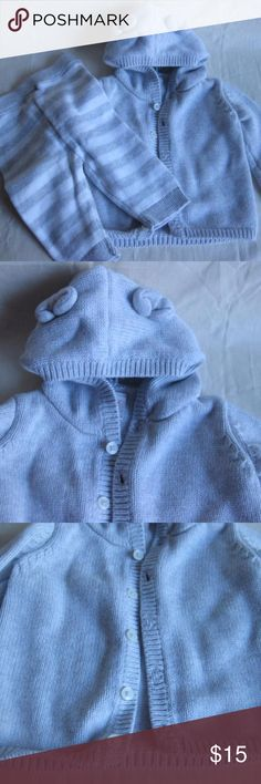 Hooded Sweater with Ears Gray Color Size is 0 - 3 Hooded sweater with ears gray color size is 0 - 3 months.  Also comes with striped gray and white  pants....100% organic cotton.  Heavy material for those cold days.  We got a lot of clothes from family, friends and baby showers so some of the items either have been worn a couple of times or not at all.  There are no tags on this outfit but it is in good condition and wearable. Cat & Jack Jackets & Coats