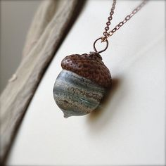 Glass Acorn Necklace  Silvered Ivory Spiral Grey by bullseyebeads, $22.00