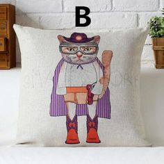Cartoon cat decorative pillow for home cute animal cushions