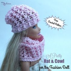 Free crochet pattern for a A Pretty Hat & Cowl for the Fashion Doll. The pattern is worked in the crossed stitch,
