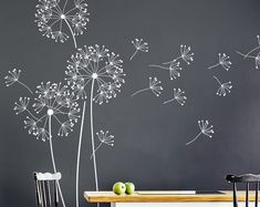 Fine Brushwork Flowers Birds Wallpaper Wall Murals, Spring Parasol Tree Flowers Branches with Resting Birds Chinoiserie Wall Mural Wall Clock Sticker, Wall Stickers Home, Wall Decal, Chalkboard Wall Bedroom, Diy Wall Painting, Bedroom Wall Designs, Wall Drawing, Bird Wallpaper, Creative Decor