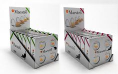 """""""Maestro"""" gourmet cat food line for AFFINITY. Packaging, 2008. By NOMON DESIGN studio."""