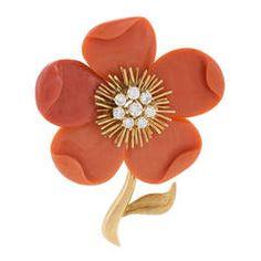 """Van Cleef & Arpels Coral Diamond Gold """"Clematis"""" Brooch"""