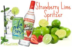 one can of sparkling lime La Croix, 1-2 shots of strawberry vodka (chilled),   as many slices of fresh strawberry and lime as you can fit in the glass