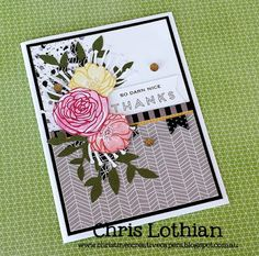 Thank You card created by Chris Lothian using the Blossoming Expressions stamp set, La Vie En Rose and Fundamental papers - www.chrislothian.ctmh.com.au