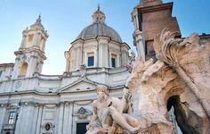P.za Navona con la Fontana dei Quattro Fiumi e la Chiesa di S. Agnese in Agone