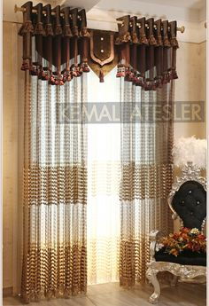 Luxury and Gorgeous villa relievo embroidery sheer curtain blinds drapes for living room in coffee and beige color French Door Curtains, Window Drapes, Curtains With Blinds, Modern Curtains, Window Coverings, Window Treatments, Grommet Curtains, Valances, House Essentials