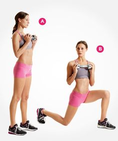 Work your butt, legs, and core with this reverse lunge and twist PLUS 4 more lower body exercises here: www.womenshealthmag.com/fitness/new-lunge-exercises?cm_mmc=Pinterest-_-womenshealth-_-content-fitness-_-newlungestotry