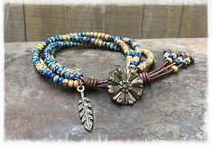 Seed Bead Leather Wrap Bracelet/ Beaded Leather Wrap Bracelet/ Bohemian Leather Wrap Bracelet/ Boho Leather Wrap Bracelet/ Gift For Her.