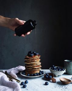 ILĀ | Wood Fired Maple syrup from our new line paired with pancakes and blueberries by Linda Lomelino