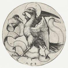 Martin Schongauer | De adelaar van de evangelist Johannes, Martin Schongauer, 1470 - 1490 | Een adelaar met een banderol tussen de poten, symbool van de evangelist Johannes. Deze prent is onderdeel van een serie van vier ronde prenten met de evangelistensymbolen.