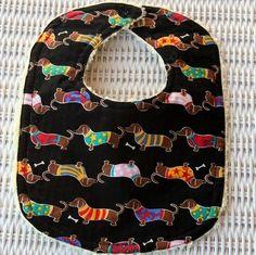 Dachshund Baby Items   Dachshund Baby Bib Cream Minky Dot by maryhanks on Etsy