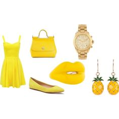 sunbright outfit by queenbri23 on Polyvore featuring Joe's Jeans, Dolce&Gabbana, Solange Azagury-Partridge and Michael Kors