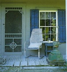 I have long collected images of Barbara Davis' home and work. It took me year to discover she was the one that was on the cover of Catski. Wooden Screen Door, Screen Doors, Old Doors, Front Doors, Pergola, Porch Veranda, Building Front, Sleeping Porch, Shutter Doors