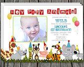 Zoo, Jungle Safari Themed, Party Animals Birthday Invitation - Printable