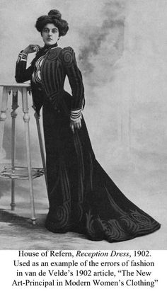 fashionable dress illustrated in van de Velde's 1902 article on Artistic Dress
