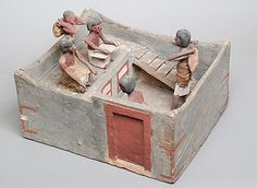 Model of a granary with scribe and overseer Period: Middle Kingdom Dynasty: Dynasty 11–mid 12 Date: ca. 2030–1850 B.C. Geography: From Egypt, Middle Egypt, Meir (Mir) Medium: Wood