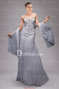 White Sweetheart Chiffon Evening Dress with Exquisite Sequins and Back Shawl