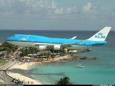 St. Martin, USVI - The beach is at the tip of the runway - one crazy landing.