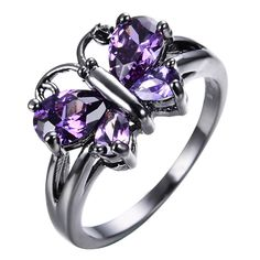 Rings Cute Butterfly Purple Amethyst Ring Black Gold Wedding Band For Women Size Bridesmaid Accessories, Bridesmaid Jewelry Sets, Bridal Jewelry Sets, Wedding Jewelry, Gold Wedding, Wedding Band, Black Gold Jewelry, Black Rings, Butterfly Shape