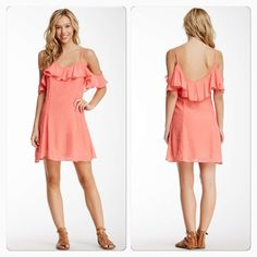 """Ruffle Gauze Coral Slip Dress Great spring dress! With Side zip closure, lined, approx. 34"""" length. Runs small! Dresses"""