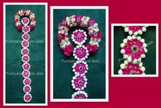 Artificial poola jada made with artificial jasmine,satin ribbon,gold roses and kundan applique
