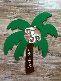 One of a kind, wood palm tree initial monograms! Perfect for your front door, a wreath, wall hanging, gifts and more!  These palm trees are