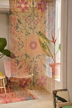 Slide View: 1: Rosa Floral Bamboo Beaded Curtain