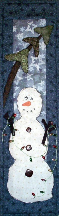 "Patch Abilities Pattern-P44 Hangin' Lights. This winter wall hanging is an easy project for applique quilters!  Sized 6""x22"""