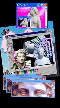 All things pastel, iridescent, kawaii, vaporwave, harajuko, fairy kei Vaporwave Wallpaper, Retro Wallpaper, Iphone Wallpaper, Vaporwave Art, Mode Blog, Neon Aesthetic, Glitch Art, Wall Collage, Cute Wallpapers