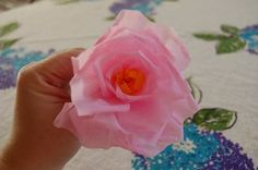 How to Make a Crepe Paper Rose Learn how to make realistic roses with sturdy yet inexpensive crepe paper. This technique is a great way to create a bouquet of roses gift or decoration for Crepe Paper Roses, Tissue Paper Flowers, Making Fabric Flowers, Flower Making, Handmade Flowers, Diy Flowers, Fake Flowers, Pretty Flowers, Tissue Paper Crafts