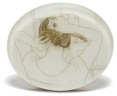 """Hairpin"" by Melanie Bilenker. 2006. Gold, sterling silver, boxwood, epoxy resin, pigment, hair."