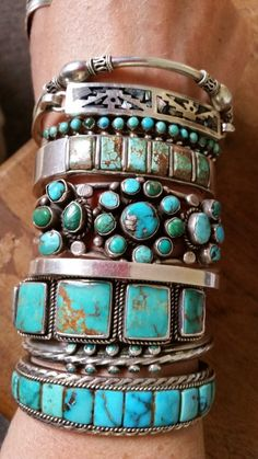 I love bracelets with multiple rectangular pieces of turquoise in a row. That one on the bottom = LOVE!