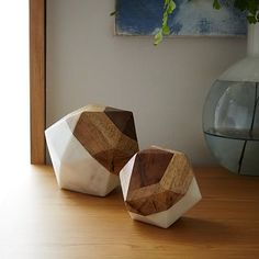 Marble + Wood Object, Small Octahedron At West Elm - Decorative Objects - Home Accents Decorative Objects, Decorative Pillows, Decorative Accents, Decor Pillows, Decorative Boxes, Home Decor Accessories, Decorative Accessories, Wood Bookends, Agate Bookends