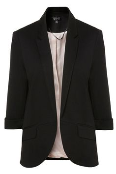 Basic Training: Find The Perfect Black Blazer The Everyday Blazer — For a blazer that'd look just as good with jeans and dresses as it does a pair of work trousers, we like the look of a boxier cut in a thinner fabric. This Topshop blazer is the right mix of casual and formal, and is affordable, to boot! Topshop Ponte Rolled Sleeve Blazer, $70, available at Topshop.