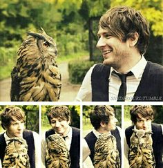 Adam Young with an owl