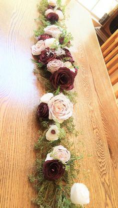Burgundy floral Swag Floral table runner Ceremony floral
