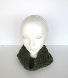 Olive Green Cowl Neckwarmer Infinity Scarf by TreasureChestCrochet