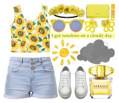 """""""I got sunshine on a cloudy day."""" by enola-pycroft ❤ liked on Polyvore featuring Versace, Acne Studios, Quay, Marc by Marc Jacobs, Givenchy, Charlotte Russe, Burt's Bees, croptop, Sunshine and clouds"""