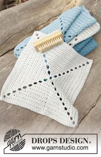 "Take Care - Hæklede DROPS klude i "" DROPS ♥ YOU #5"" eller ""Paris"" - Free pattern by DROPS Design"