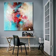 """LPrice from: $180 Large Original Abstract Painting On Canvas, Abstract Textured  TG066 Square painting Size from: 22"""" x 22""""   handmade Acrylic from Studio Trend Gallery#abstractpainting #largecanvasart #largeabstractart #originalartwork #originalart #abstractcanvas #texturepainting #homedecorart  #roomdecor #roomdesign #livingroomdecor #wallart #wallartdecor #wallartprint Watercolor Canvas, Acrylic Painting Canvas, Abstract Canvas, Canvas Artwork, Colorful Wall Art, Colorful Paintings, Turquoise Painting, Large Canvas Art, Texture Painting"""