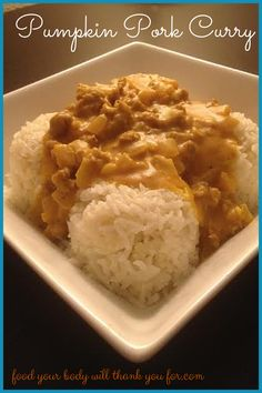 Pumpkin Pork Curry-- This recipe is a wonderful blend of savory and sweet and is a favorite in my family. Best of all, it's kid-approved! Curry Recipes, Pork Recipes, Fall Recipes, Crockpot Recipes, Primal Recipes, Whole Food Recipes, Healthy Recipes, Pork Curry, Paleo Dinner