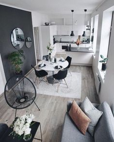 Beautiful Small Living Rooms That Work. Check out these small living room id. Beautiful Small Living Rooms That Work. Check out these small living room ideas and design schem Small Living Rooms, Home Living Room, Small Living Room Designs, Small Living Dining, Small Living Room Kitchen Ideas, Living Room Ideas Small Apartment, Cozy Living, One Room Apartment, One Bedroom Apartments
